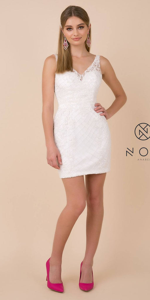 Fitted White Embellished Homecoming Short Dress V-Neck