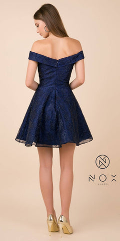 Embroidered Off-Shoulder Homecoming Short Dress Navy Blue