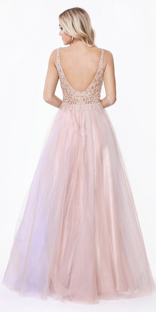 Cinderella Divine AB198 Long A-Line Layered Tulle Gown Opal Blush Beaded Floral Applique Bodice Open Back