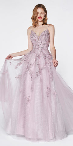 Cinderella Divine AM106 Beaded Flowy Long A-Line Tulle Lace Dress Mauve V-Neckline Open Back