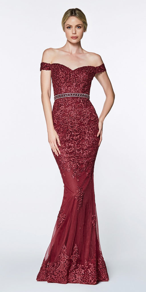 Cinderella Divine AM122 Off the Shoulder Beaded Lace Fitted Gown Burgundy Rhinestone Belt