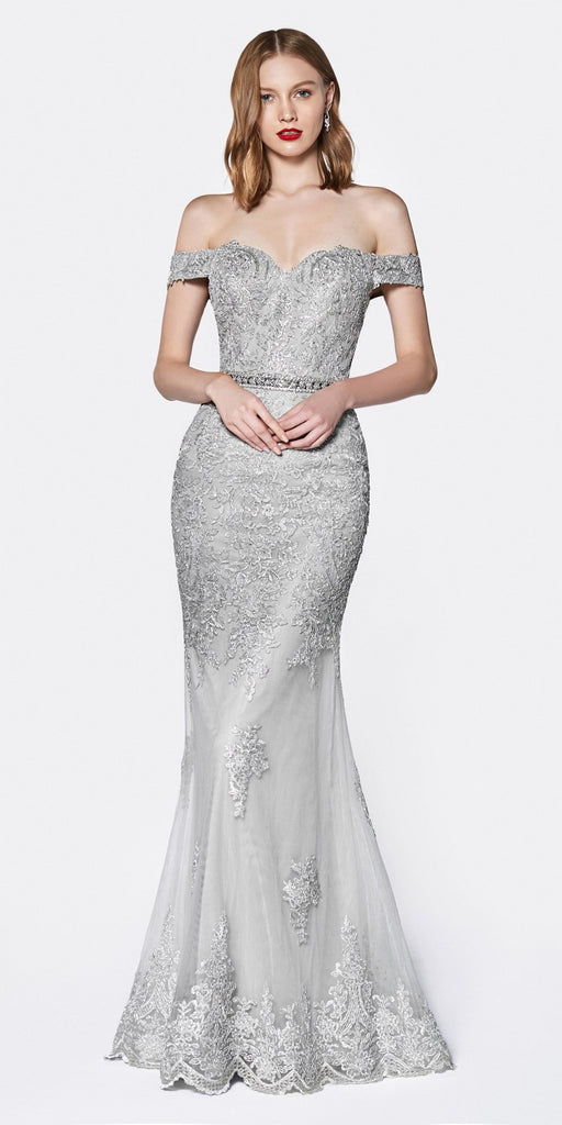 Cinderella Divine AM122 Off the Shoulder Beaded Lace Fitted Gown Silver Rhinestone Belt