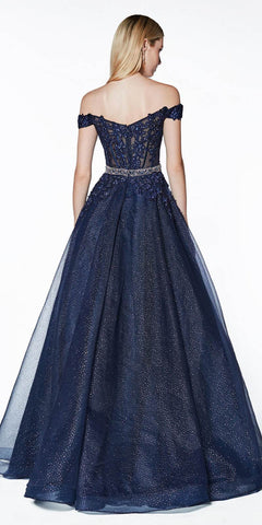 Cinderella Divine AM140 Off The Shoulder Long Ball Gown Navy Blue Beaded Belt Glittered Lace Bodice