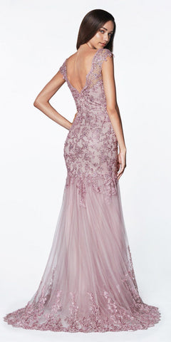 Cinderella Divine AM147 Mermaid Lace Fitted Gown Mauve Cap Sleeves Open Scoop Back