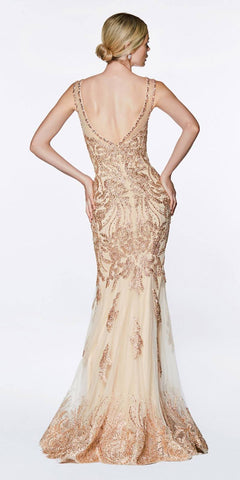 Cinderella Divine AM186 Fitted Embellished Lace Gown Gold Illusion Open Back V-Neckline