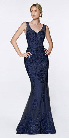 Cinderella Divine AM186 Fitted Embellished Lace Gown Navy Blue Illusion Beaded Straps Open Back