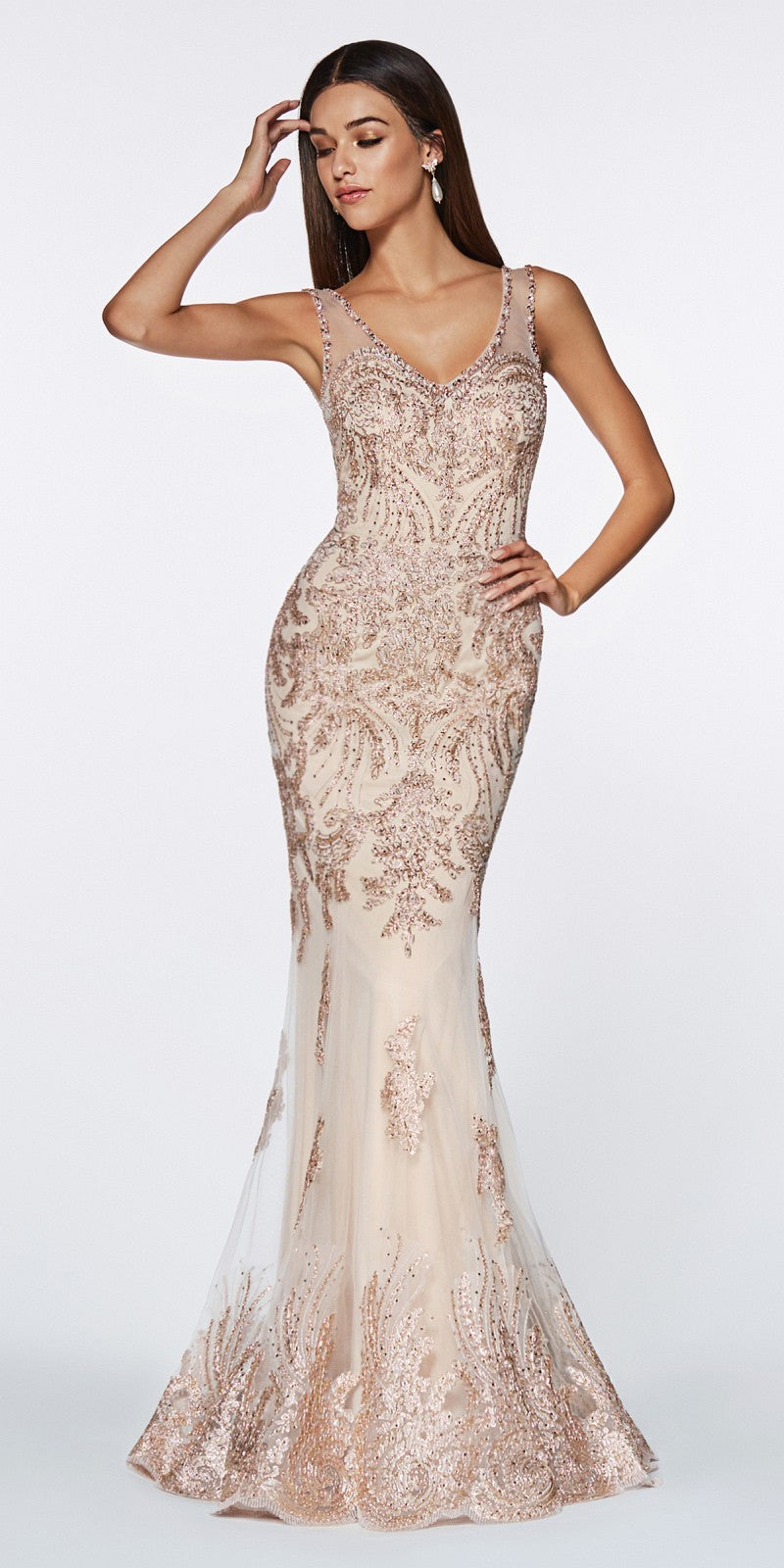 Cinderella Divine Am186 Fitted Embellished Lace Gown Navy Illusion