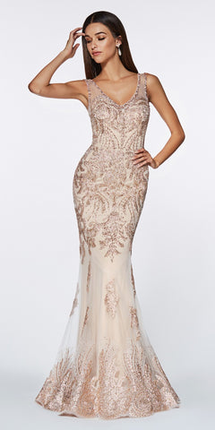 Cinderella Divine AM186 Fitted Embellished Lace Gown Rose Gold Illusion Open Back V-Neckline