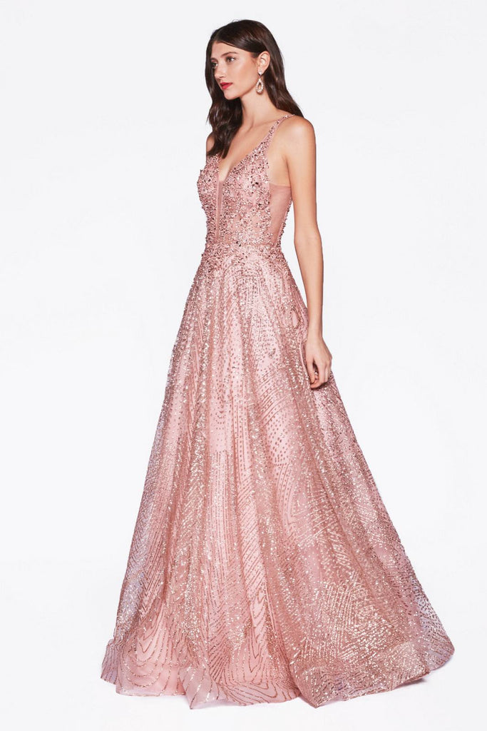 Cinderella Divine AM258 Floor Length Glitter Ball Gown Dusty Rose Embellished Lace Top