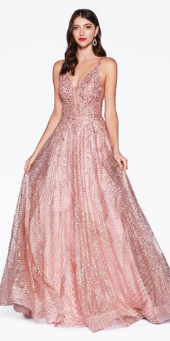 Cinderella Divine AM258 Long Ball Gown Dusty Rose Embellished Lace Top Glitter Details