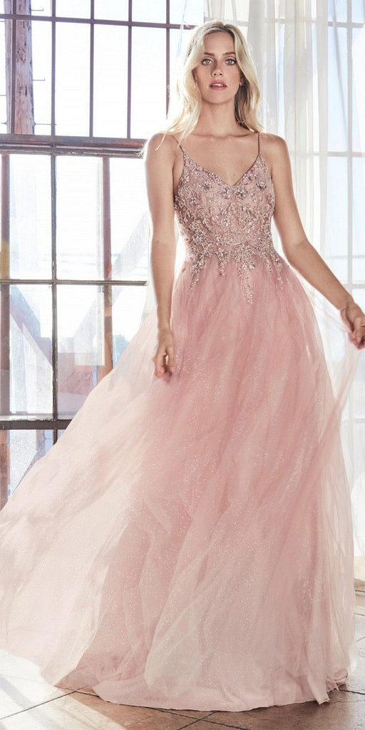 Cinderella Divine AM321 Long A-Line Gown Blush Layered Sparkle Tulle Skirt Beaded Bodice