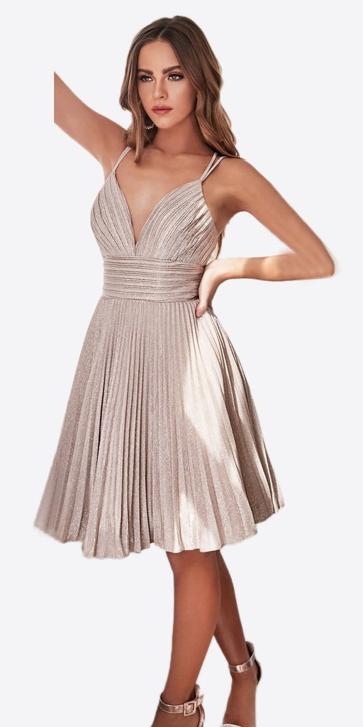 Cinderella Divine AM391 A-Line Short Dress Champagne Pleated Glitter Fabric Criss Cross Back