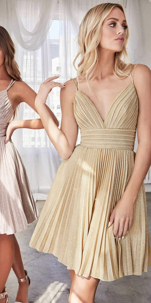 Cinderella Divine AM391 A-Line Short Dress Gold Pleated Glitter Fabric Criss Cross Back