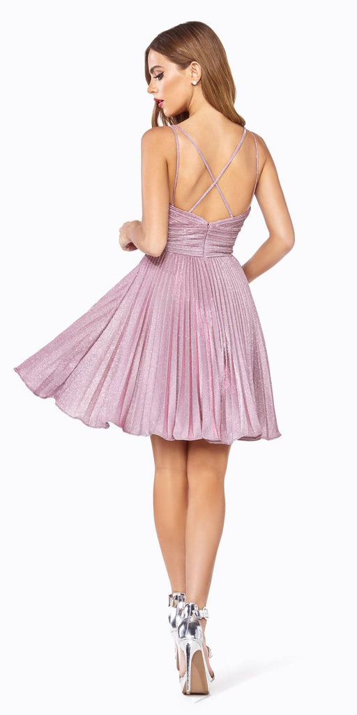 Cinderella Divine AM391 A-Line Short Dress Rose Pleated Glitter Fabric Criss Cross Back