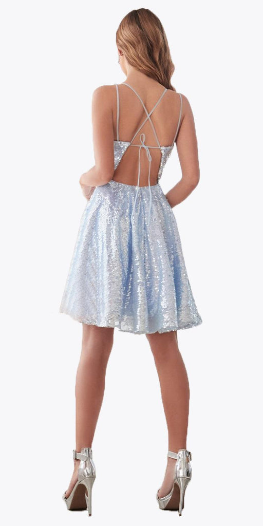 Cinderella Divine AM398 A-Line Sequin Short Blue Dress Straight Neckline Lace Up Corset Back