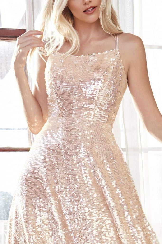 Cinderella Divine AM398 A-Line Sequin Short Champagne Dress Straight Neckline Lace Up Corset Back