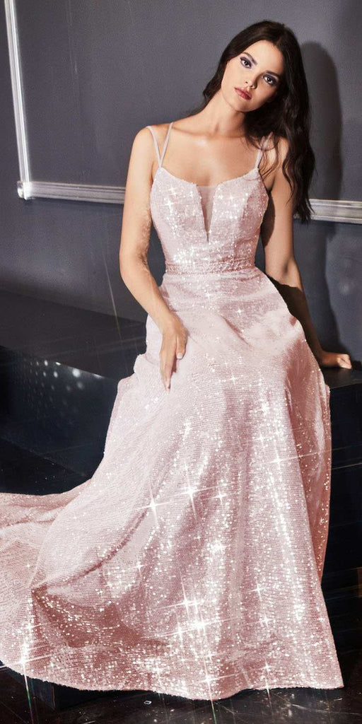 Cinderella Divine AM518 Long Sequined A-Line Ball Gown Blush Straight Neckline Lace Up Corset Back