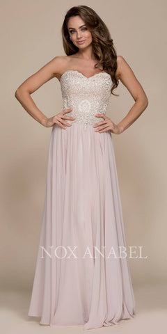 Champagne Strapless Long Prom Dress Applique Beaded Bodice
