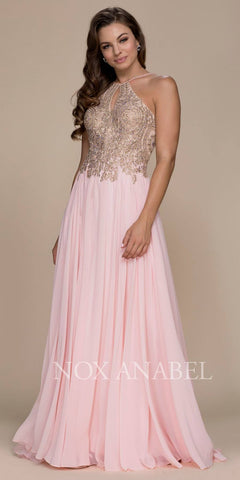 Blush A-Line Long Formal Dress Keyhole Neckline