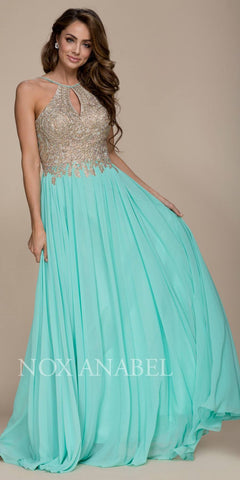 Mint A-Line Long Formal Dress Keyhole Neckline