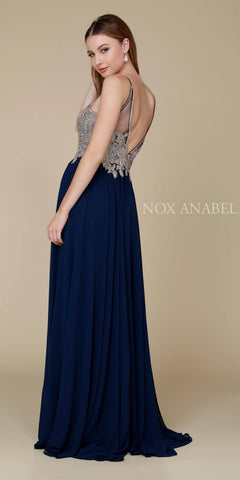 Full Length Navy Blue Formal Dress Keyhole Neckline Flowy Skirt Back View