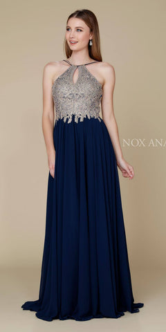 Full Length Navy Blue Formal Dress Keyhole Neckline Flowy Skirt