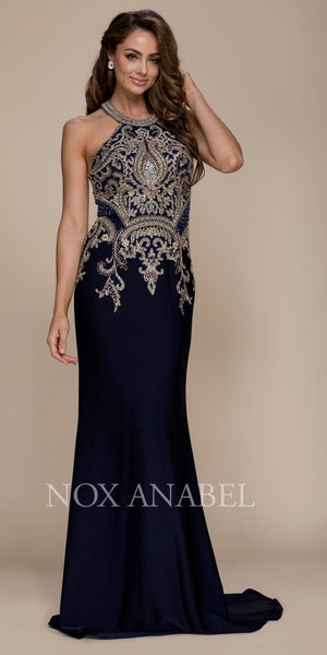 Long Mermaid Prom Dress Embroidered Halter Top Navy Blue