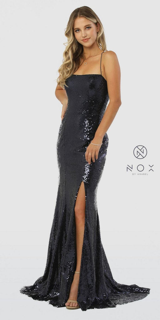 Navy Blue Sequins Long Prom Dress with Slit