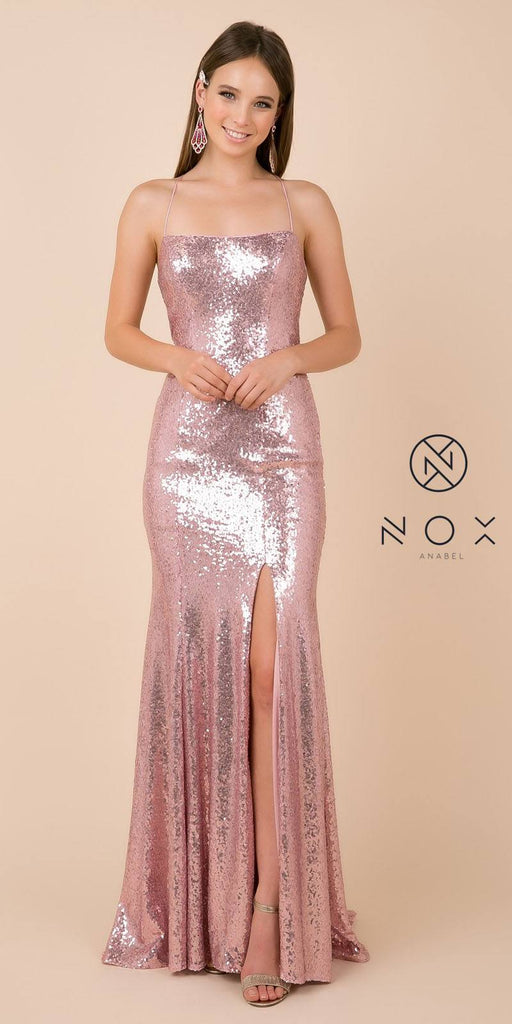 Nox Anabel B207 Rose Sequins Long Prom Dress with Slit