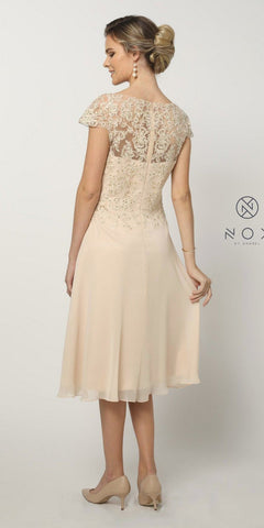 Knee-Length Formal Dress Appliqued Bodice Gold
