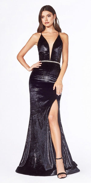 Open Lace-Up Back Black Long Prom Dress with Slit
