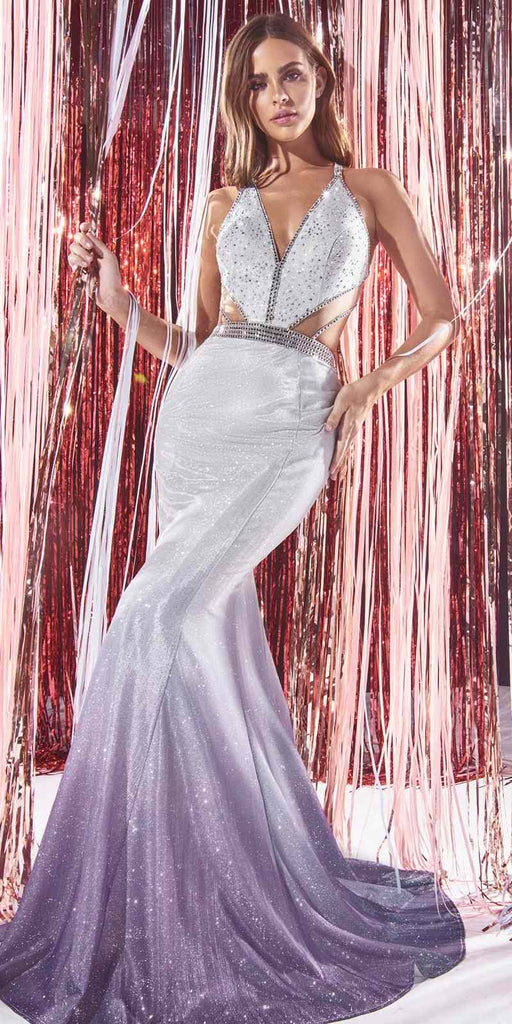 Cinderella Divine B60621 Long Fitted Ombre Glitter Gown Silver Cut Outs Embellished Straps