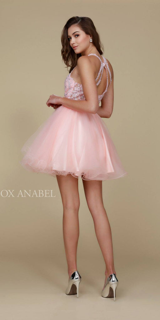 Short Blush Homecoming Dress Poofy A Line Tulle Skirt Halter Neck Back View