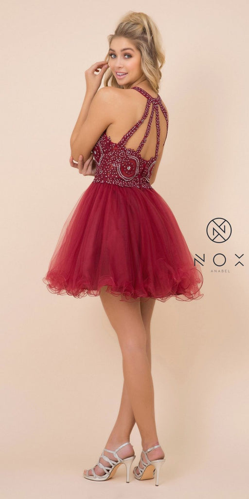 Nox Anabel B652 Short Burgundy Homecoming Dress Poofy A Line Tulle Skirt Halter Neck