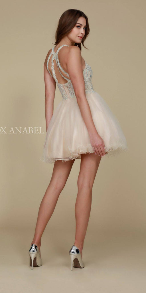 Short Champagne Homecoming Dress Poofy A Line Tulle Skirt Halter Neck Back View