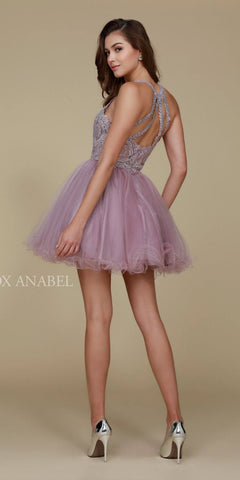 Short Mauve Homecoming Dress Poofy A Line Tulle Skirt Halter Neck Back View