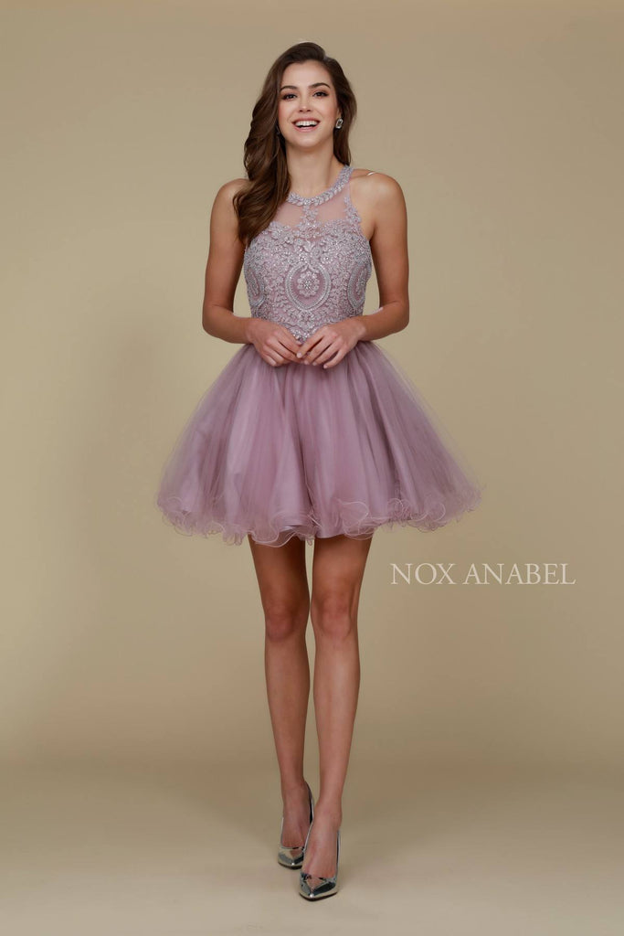 Short Mauve Homecoming Dress Poofy A Line Tulle Skirt Halter Neck
