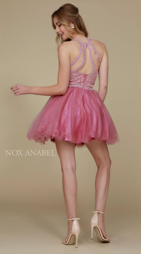 Short Rose Homecoming Dress Poofy A Line Tulle Skirt Halter Neck Back View