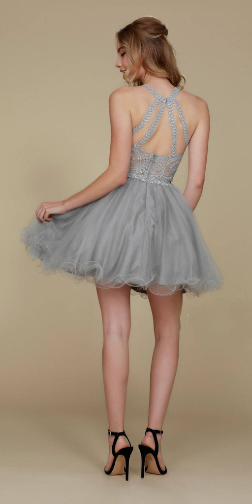 Short Silver Homecoming Dress Poofy A Line Tulle Skirt Halter Neck Back View