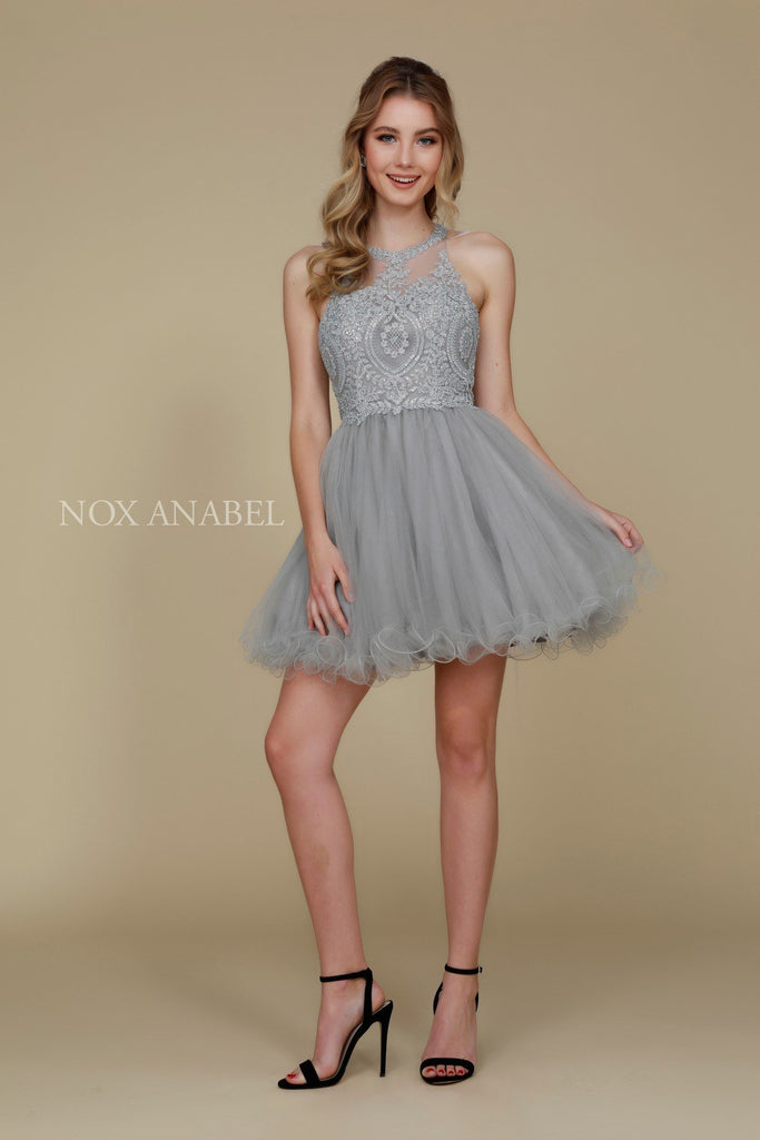 Short Silver Homecoming Dress Poofy A Line Tulle Skirt Halter Neck