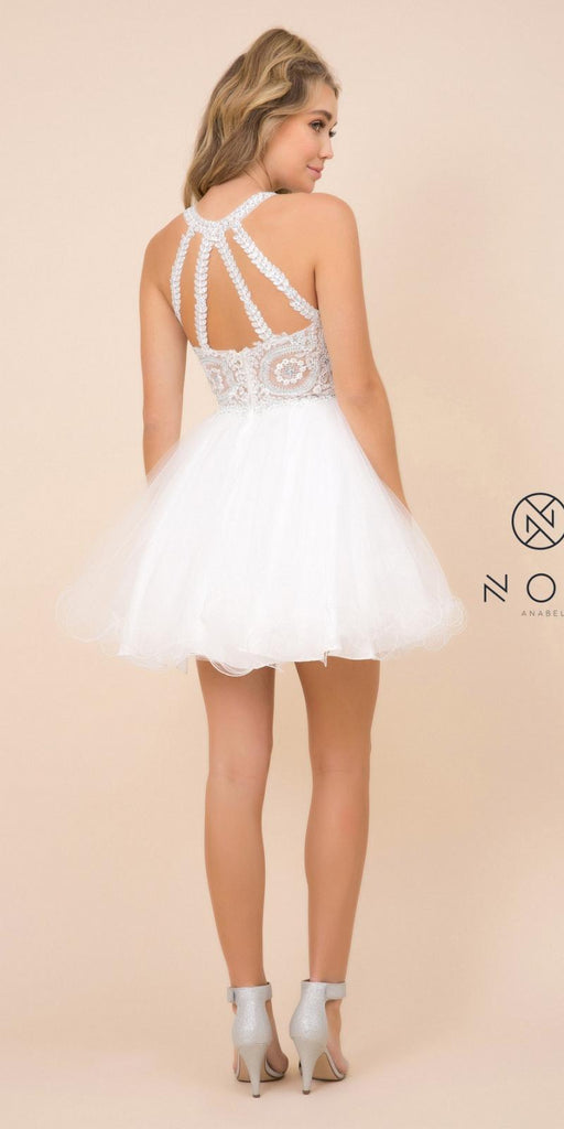 Nox Anabel B652 Short White Homecoming Dress Poofy A Line Tulle Skirt Halter Neck