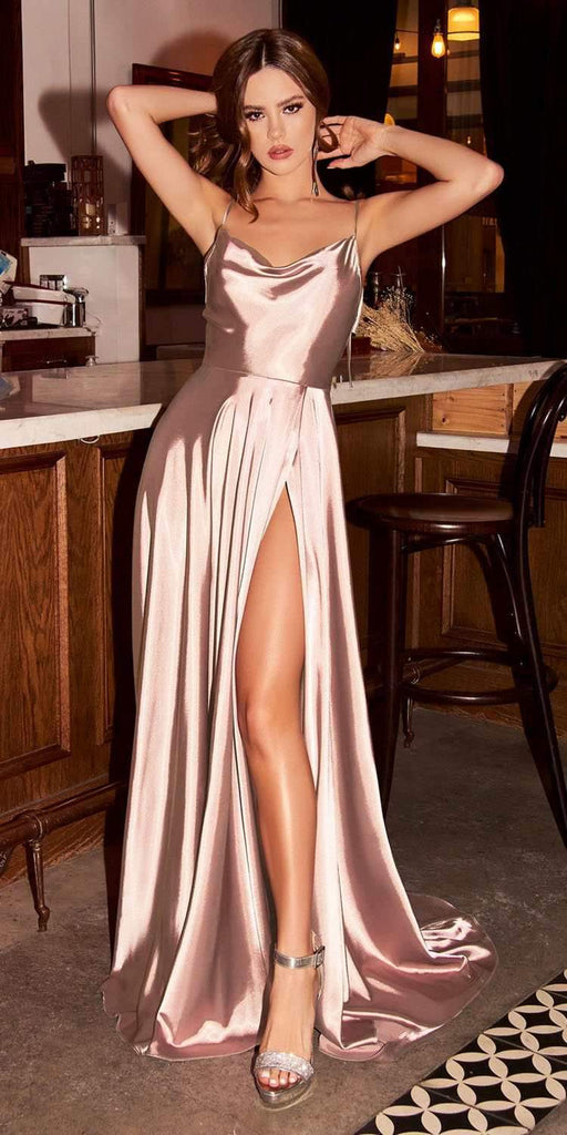 Cinderella Divine BD104 Satin A-Line Dusty Rose Dress Cowl Neckline Tie Straps Leg Slit