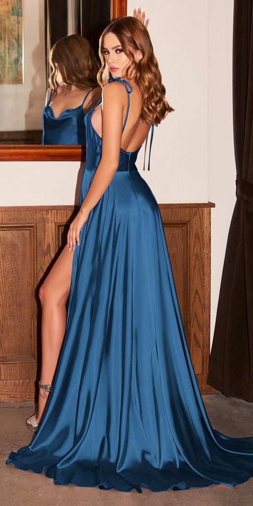 Cinderella Divine BD104 Satin A-Line French Navy Blue Dress Cowl Neckline Tie Straps Leg Slit
