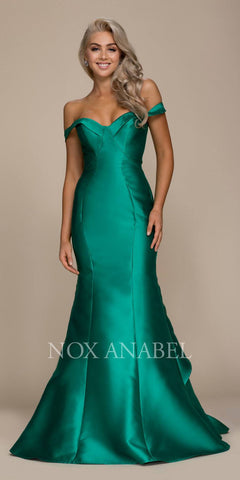 Green Off Shoulder Long Mermaid Prom Dress