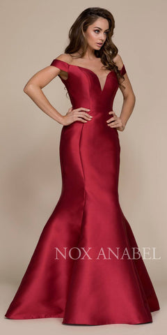 Off-the-Shoulder Mermaid Long Prom Dress Burgundy