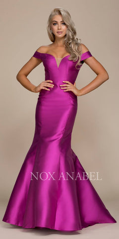 Off-the-Shoulder Mermaid Long Prom Dress Magenta