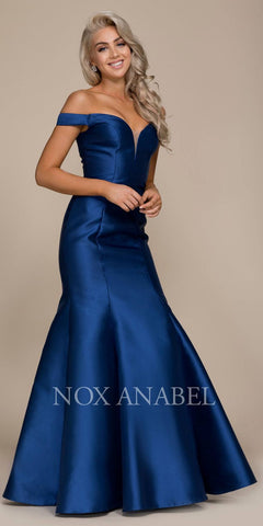 Off-the-Shoulder Mermaid Long Prom Dress Navy Blue