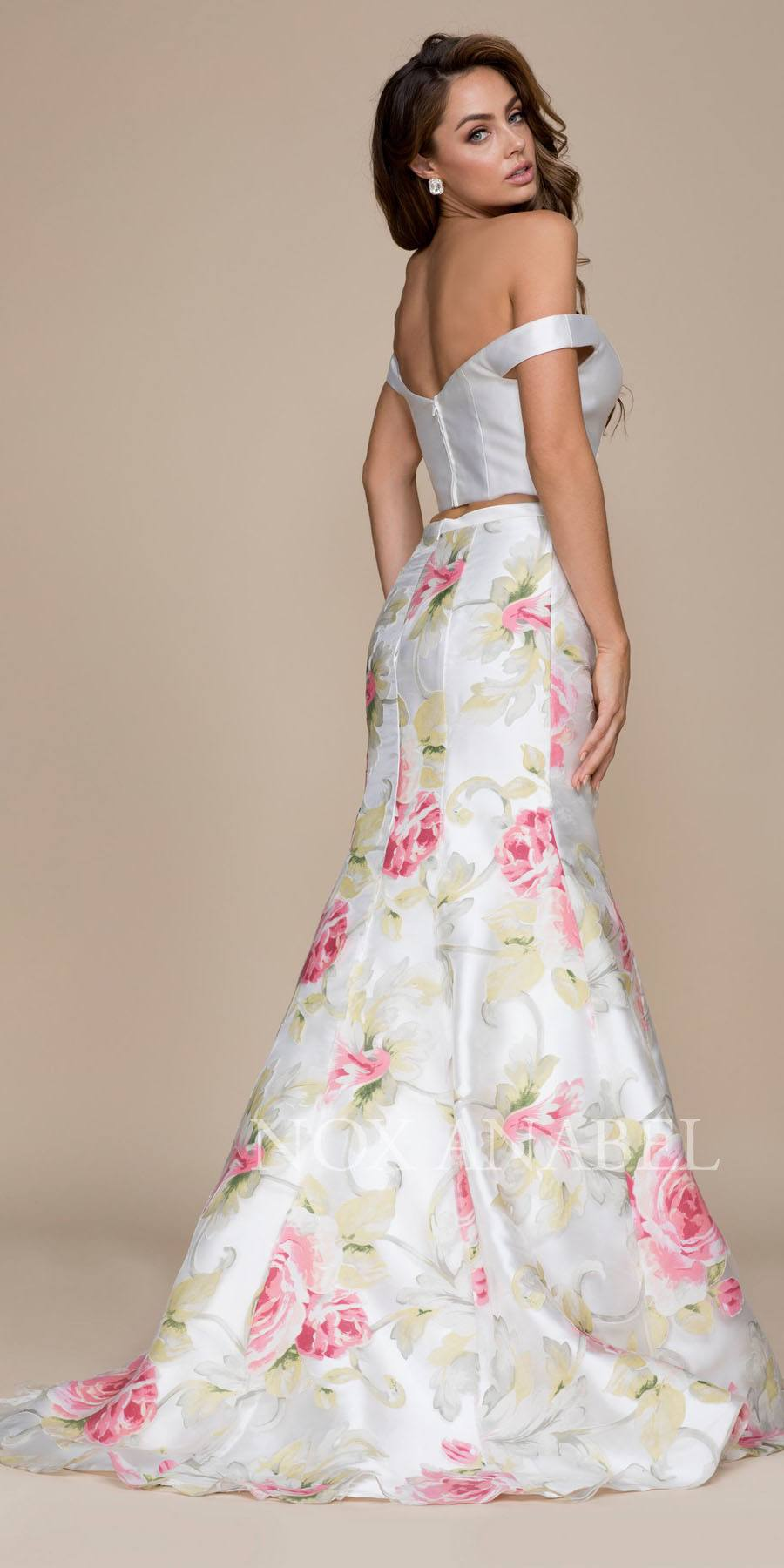 Two Piece Prom Gown Off Shoulder White Top Floral Print Skirt ...