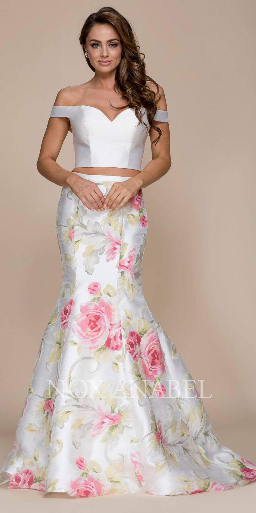 cb71febdaa9 Two Piece Prom Gown Off Shoulder White Top Floral Print Skirt. Tap to expand