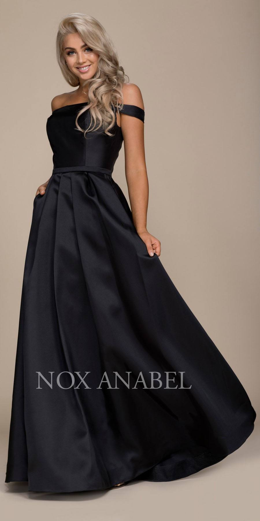 Champagne Off-the-Shoulder Long Prom Dress with Pockets